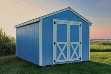 blue utility shed