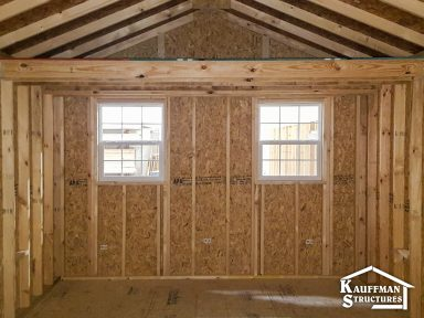 interior construction of a gable storage shed