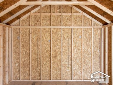 interior construction of a storage shed