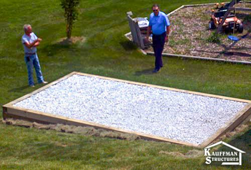nice gravel pad for your shed