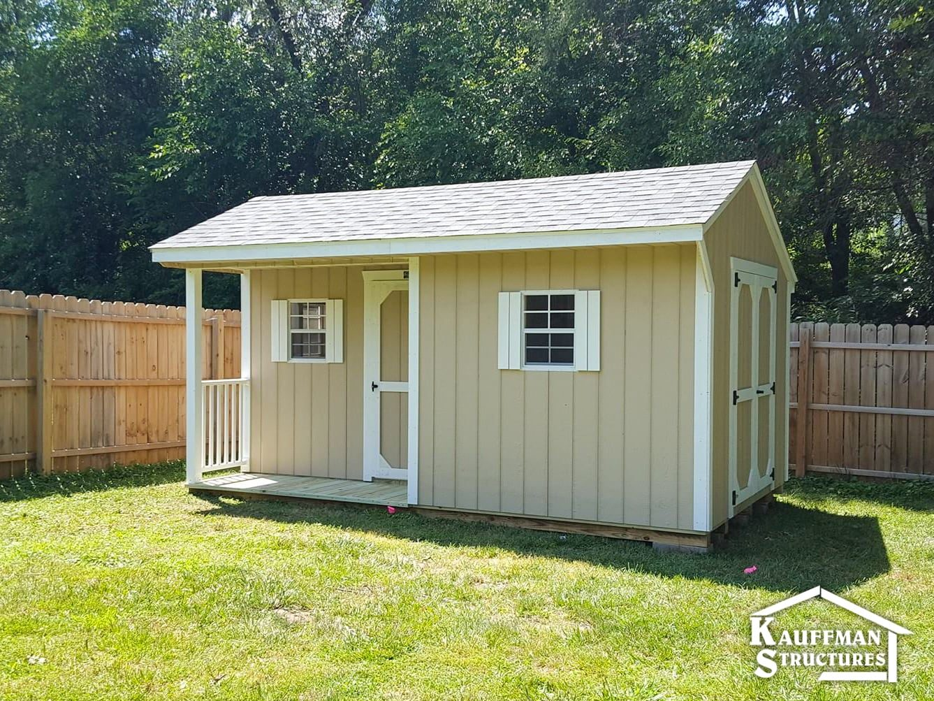 storage shed with a corner porch in knoxville iowa