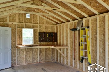 interior bench construction in a storage shed