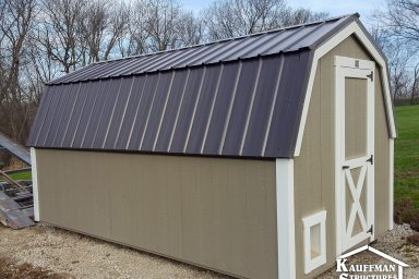 metal roof on a storage shed