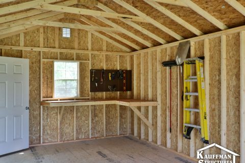 interior bench construction of a storage shed