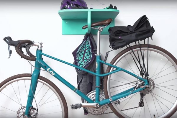 diy storage shelf for a bicycle shed