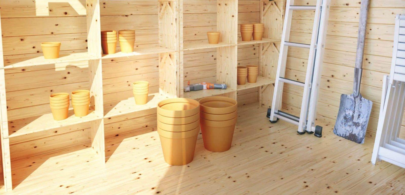 added shelves in workshop shed