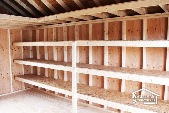 added shelving in workshop shed
