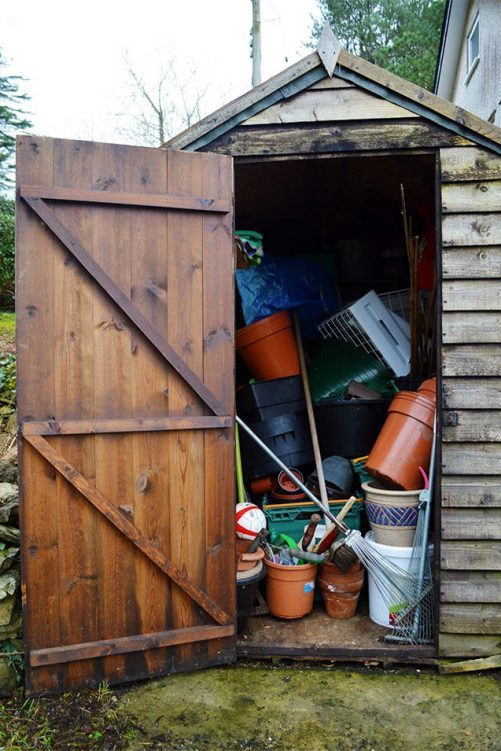 an unorganized small shed