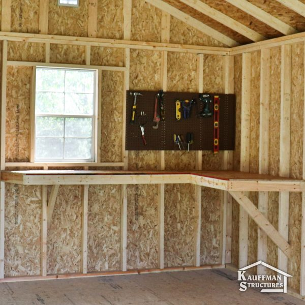 small shed with a workbench