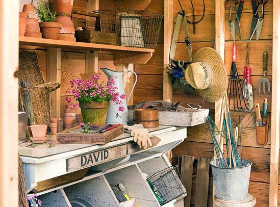 gardenting tools in shed