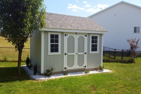 small storage shed in the backyard