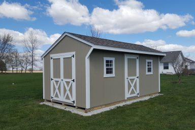 Backyard shed on a pad