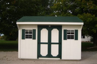 Backyard shed with a side double door